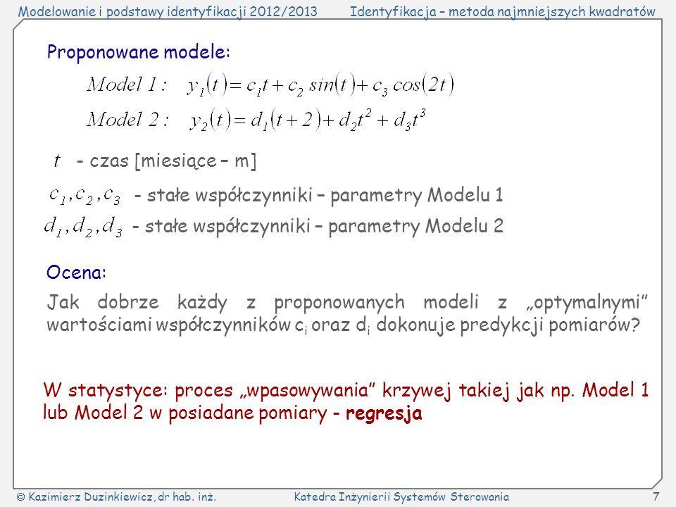 Proponowane modele: - czas [miesiące – m] - stałe współczynniki – parametry Modelu 1. - stałe współczynniki – parametry Modelu 2.